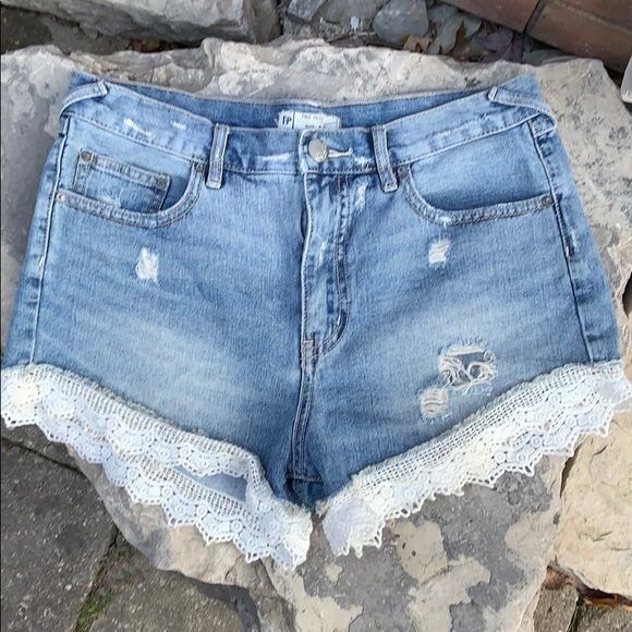 Free People Pants - Free People Denim / Jean Shorts with Lace Trim 29